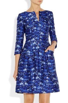 Oscar de la Renta|Day printed silk and cotton-blend dress|I would wear as a sheath with long skirt