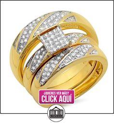 0.30carat (quilate) 18K oro amarillo chapado en plata redondo diamantes hombres y las mujeres anillo de compromiso Trio Set 1/3CT  ✿ Joyas para hombres especiales - lujo ✿ ▬► Ver oferta: https://comprar.io/goto/B00IIJA28K