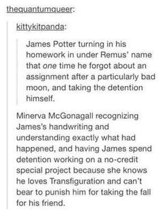 James Potter Turning his Homework in With Remus Lupin's Name