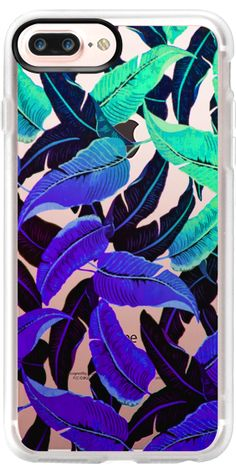 Casetify Protective iPhone 7 Plus Case and iPhone 7 Cases. Other Tropical Leaf iPhone Covers - Aqua & Purple Banana Leaf by Sara Eshak | Casetify