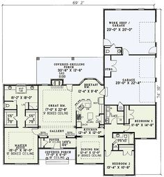Traditional Design with Garage and Workshop Everything I want.Plus a three car garage (with a bathroom!Plus a three car garage (with a bathroom! Plan Garage, Garage House Plans, Ranch House Plans, Dream House Plans, Small House Plans, House Floor Plans, 40x60 House Plans, The Plan, How To Plan