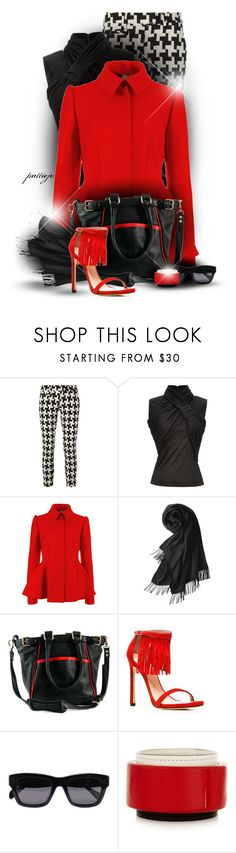 """""""She's Ready in Red"""" by rockreborn ❤ liked on Polyvore featuring Dondup, Bouchra Jarrar, Ted Baker, Uniqlo, Roque Bags, Stuart Weitzman, CÉLINE, Marni, scarf and houndstooth"""