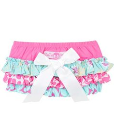 Ruffled layers of pretty prints and a satin bow add sweetness and charm to a favorite bloomer style.  RuffleButts Splash Fun RuffleButt | www.RuffleButts.com