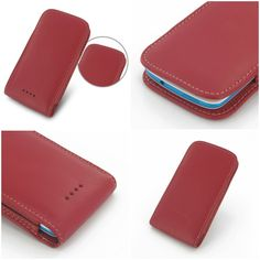 PDair Leather Case for HTC Desire 500 - Vertical Pouch Type (Red)