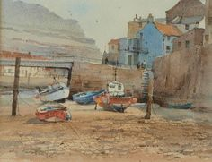 """David Howell """"Low Water in Staithes Beck"""" Watercolor Landscape, Landscape Art, Watercolor Paintings, David Howell, Watercolor Pictures, Paintings I Love, Portrait Art, Painting & Drawing, Abstract Art"""