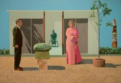 David Hockney, English, born 1937 American Collectors (Fred and Marcia Weisman), 1968 Acrylic on canvas 213.4 x 304.8 cm (83 7/8 x 120 in.) One of England's most versatile and inventive artists of the postwar era, David Hockney settled in Los Angeles in 1964. Perhaps the most iconic example from a group of double portraits of friends and associates from the 1960s, this painting depicts the contemporary-art collectors Fred and Marcia Weisman in the sculpture garden of their Los Angeles...