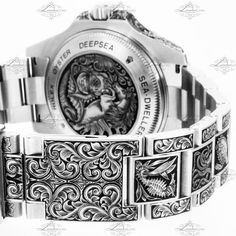 Hand Engraving Gallery - London Engraver Fancy Watches, Stylish Watches, Luxury Watches For Men, Cool Watches, Watch Engraving, Metal Engraving, Engraving Ideas, Rolex 116234, Rolex Watches