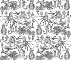 Antique Horrors of the Deep  fabric by jenithea on Spoonflower - custom fabric