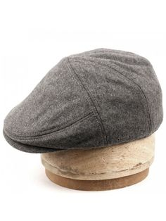 100% Wool Herringbone Winter IVY Cabbie Hat w Fleece Earflaps - Driving Hat  - Charcoal Gray - C912NZAIGMP 85f15df0580c