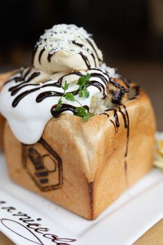 Honey Toast in Tokyo, Japan with Ice Cream, Whip Cream, Toast, Honey, and More