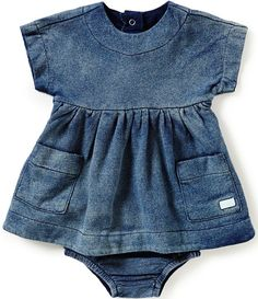 8bed441b1f2 7 For All Mankind Baby Girls Newborn-24 Months Denim-Look French Terry Dress