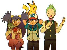 Ash Ketchum and Pikachu with their Unova friends ^.^ ♡ I give good credit to whoever made this 👏 Pokemon Iris, Gen 1 Pokemon, Pokemon Manga, Black Pokemon, Cute Pokemon, Pokemon Stuff, Digimon, Pokemon Ash And Serena, Ash Ketchum