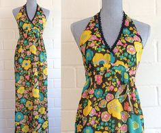 Vintage 60s-70s flower power maxi dress  halter by ShopWearwithal