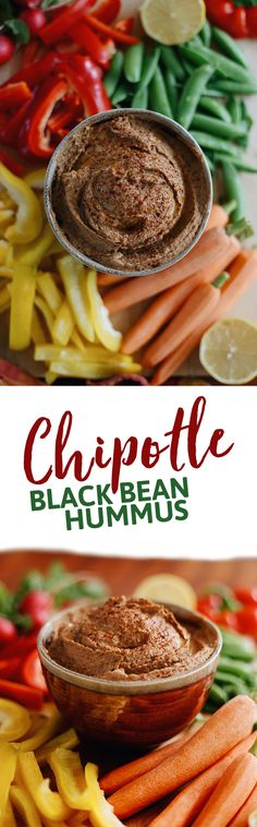 Mexican meets the Mediterranean with this Spicy Chipotle Black Bean Hummus. The perfect appetizer recipe for your next dinner party or pair with veggies or crackers for a weekday snack!