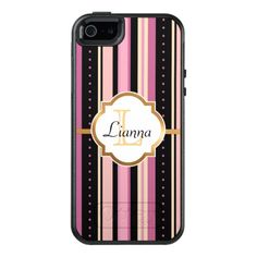 Pink, Peach and Black Stripes, Faux Gold Foil, OtterBox iPhone 5/5s/SE Case