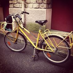 This is my bike. A retired La Poste cargo bike. I love her. Carries everything including my two kids!