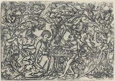 Künstler:Meckenem d. Ä., Israhel van Langtitel:Ornamentblatt mit schachspielendem Paar Entstehungsjahr:um 1457–1470