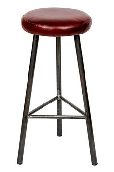 Trippie Hyde Three Legged High Padded Leather Bar Stool