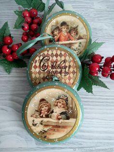 """Купить Набор ёлочных игрушек """"Винтажная зима"""" - Новый Год, елочные украшения, елочная игрушка"""