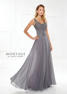 Montage By Mon Cheri 118976 - This beautiful and versatile sleeveless chiffon and metallic lace A-line gown with heat set stones can be worn with or without detachable lace illusion short sleeves. It also offers front and back lace illusion V-necklines, a sweetheart bodice covered in metallic lace, a finely pleated chiffon natural waistband with a center lace accent, and a full chiffon skirt with a sweep train. A matching shawl and detachable short sleeves are included.