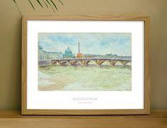 Art print of 'Across the Seine'  a Paris watercolour by Augustus Pilar at Relish Art Prints