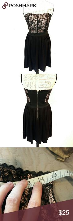 Elle ⏺️ lace strapless dress Gorgeous in perfect condition dress by Elle. Black and tan in color. Zips up the back. Elastic waist band. Has silicone lining at the top inside of the dress to make it stay up when on. Nice soft material. Measurements provided in pics above. From a smoke and pet free home. Fast shipping! Office - Vacation - Wedding - Fun - Dress up - date night - cruise - spring - summer *IF YOU LIKE MY ITEMS, please FOLLOW ME to see NEW ARRIVALS that are added weekly! * Elle…