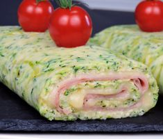 Zucchini roll stuffed with ham and cheese - Zucchini roll stuffed with ham and cheese - Greek Recipes, Indian Food Recipes, Ethnic Recipes, Salada Light, Zucchini, Tapas, Cooking Recipes, Healthy Recipes, Food For A Crowd