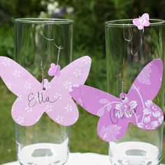 Place cards for birthday party! 85th Birthday, Fairy Birthday Party, 4th Birthday Parties, Birthday Ideas, Purple Birthday, Purple Party, Butterfly Place, Tinkerbell Fairies, Iris