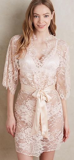 Gorgeous blush lace robe