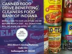 Visiting our location for a meeting? Help us reach our goal of donating 40 pounds of food to Gleaners Food Bank of Indiana Inc. Bring 1 can, 2 cans, or more to support a great cause. Any amount is helpful!