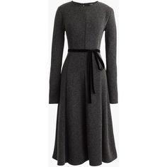 J.Crew Flared Knit Midi Dress With Velvet Tie (19.335 RUB) ❤ liked on Polyvore featuring dresses, midi party dresses, midi flare dress, fit-and-flare midi dresses, velvet dress and long-sleeve fit and flare dresses