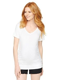 560d4396c2d84 A Pea in the Pod Vneck Side Ruched Maternity Tee     Continue to the