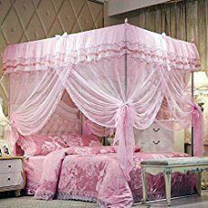 [Canony Bed DIY Ideas] Mosquito Net Bed Canopy-Lace Luxury 4 Corner Square Princess Fly Screen, Indoor Outdoor(Pink, Queen) >>> Read more at the image link. Princess Canopy Bed, Princess Room, Princess Beds, Princess Bedrooms, Girl Bedrooms, Dream Bedroom, Master Bedroom, Bedroom Decor, Master Suite