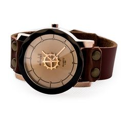 Women's Lady's Fashion Gear Watch Classic Personalized Brown Leather Strap -- You can get more details here (This is an amazon affiliate link. I may earn commission from it)