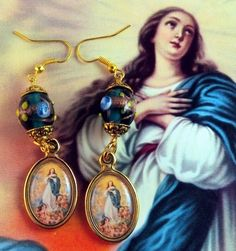"""Mary Immaculate """"Patroness of the United States"""" Religious Medals Earrings www.letyscreations.com"""
