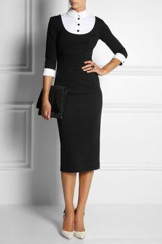 L'Wren Scott|Stretch-jersey and cotton-piqué dress|NET-A-PORTER.COM