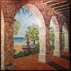 """Santa Barbara Scenes"" - 5 piece mosaic, 27 feet wide at Santa Barbara Cottage Hospital"