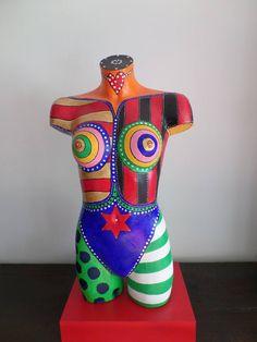 """Pop Art Plastiken Skulpturen Statuen Torso moderne Kunst Frau Unikat """"C. Abstract Portrait Painting, Body Painting, Portrait Paintings, Acrylic Paintings, Acrylic Art, Art Paintings, Abstract Art, Mannequin Torso, Mannequin Heads"""
