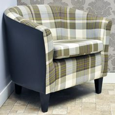 Brown Check Fabric & Faux Leather Tub Arm Chair