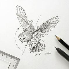 Impressive half-geometric flying owl tattoo design