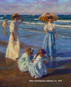 Shell Seekers, Gregory Frank Harris  #beach #seaside #painting