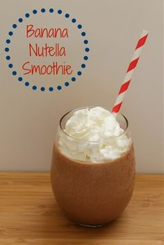 Ingredients: Serves: 2 1 banana, broken into pieces ½ C Nutella ¼ C yogurt ¼ C milk 2 handfuls of ice cubes whipped cream for garnish Nutella Smoothie, Smoothie Popsicles, Nutella Mug Cake, Nutella Cookies, Juice Smoothie, Smoothie Drinks, Smoothie Recipes, Smoothies, Yummy Drinks