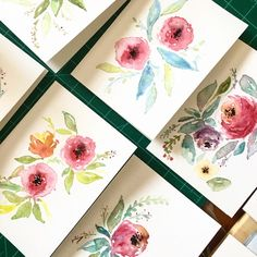 Hand Made Watercolor Cards | Greeting Cards | Thank You Cards | Hand Made Stationary | 5 x 7 by AmandaHarrisonDesign on Etsy