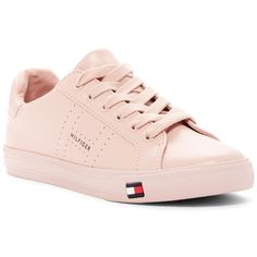 Tommy Hilfiger Luster Lace-Up Sneaker ($39) ❤ liked on Polyvore featuring shoes, sneakers, lpill, laced sneakers, faux leather shoes, vegan sneakers, tommy hilfiger trainers and synthetic leather shoes