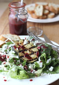 Fake Food Free:  Salad with Grilled Zucchini and Blackberry Balsamic Dressing