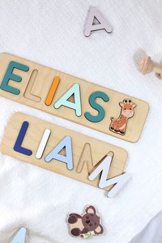 Safari Wooden Name Puzzles by WoodilyToys. First Birthday Baby Gift - Wooden Name Puzzle - Safari animals Giraffe - Name Puzzle for Kids. Christmas present for toddlers. Custom name puzzle is the best wooden toy for a baby. Eco-friendly Montessori toys. Our Personalized custom name puzzles are designed to fuel imagination, inspire exploration and encourage natural curiosity. #woodtoy #babyroom