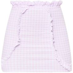 Pink Gingham Paperbag Frill Mini Skirt ($20) ❤ liked on Polyvore featuring skirts, mini skirts, bottoms, gingham mini skirt, flounce skirt, short mini skirts, frilly skirt and ruffled skirts