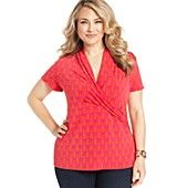 Charter Club Plus Size Top, Short-Sleeve Printed Faux-Wrap