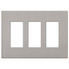 Mies Screwless Satin Nickel Cast - 3 Rocker Wallplate, Model# 240RRRN