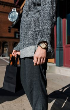 [ad] A gorgeous watch dresses up a slouchy sweater, making a chic and cozy fall outfit. Feminine & timeless, this watch will be your go - to when you're on the go